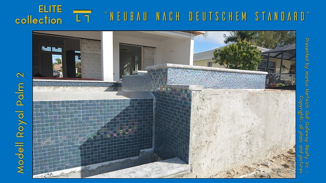 Cape Coral Neubau Pool Fliesen Wasserlinie Dekoration
