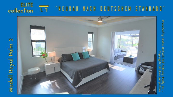 Cape Coral Neubau Modell Royal Palm 2 Master Schlafzimmer