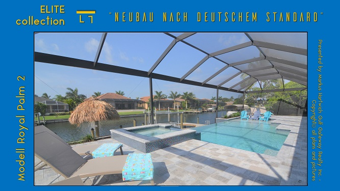 Cape Coral Neubau Modell Royal Palm 2 Poolterrasse mit Panorama Screen