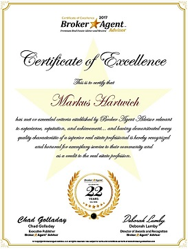2017 Broker Agent Advisor Certificate of Excellence