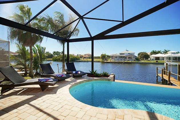 cape coral new home builders pool area waterfront home
