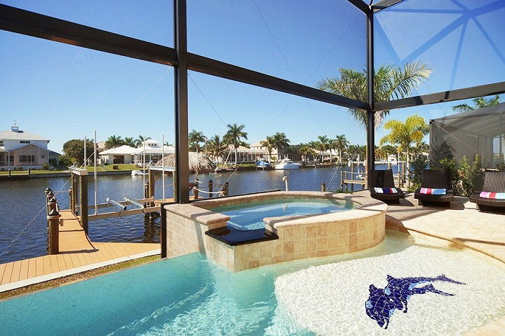 cape coral fl home builder model home overflow pool and spa